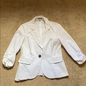 Women's White Blazer with Lace Details